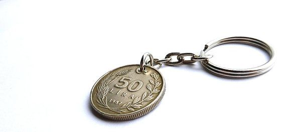 Turkish, Keychain, 1987, Coins, Charms, Men's gift, Men's accessory, Gift for him, Repurposed coin, Birthday gift, Wallet, Money, Upcycled