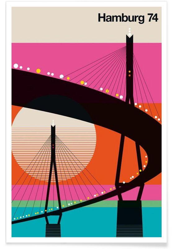 Hamburg 74 als Premium Poster von Bo Lundberg   JUNIQE