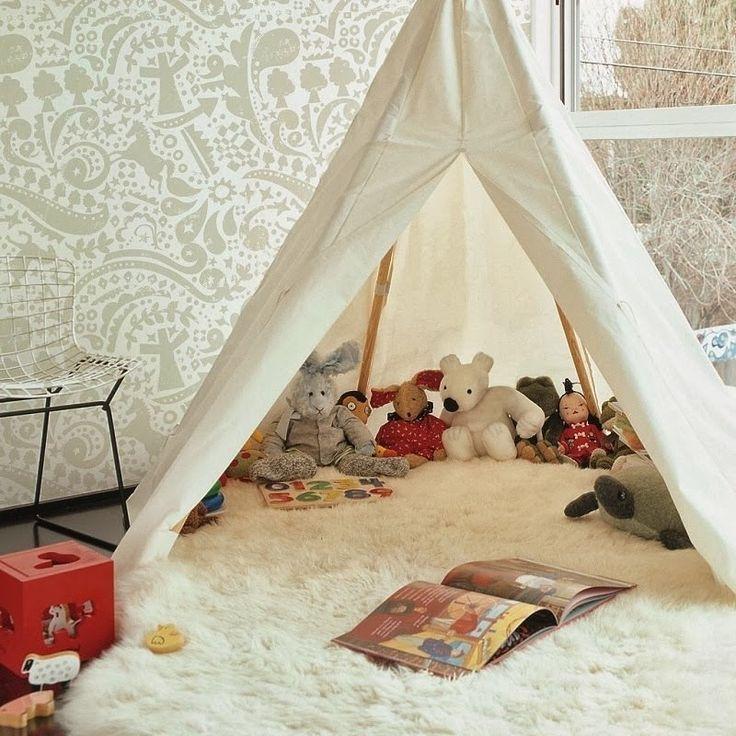 Inspiração para brinquedoteca, cabana para leitura.