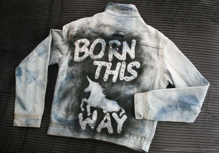 Born this way LADY GAGA DIY Jacket... bleach dye and stencil print