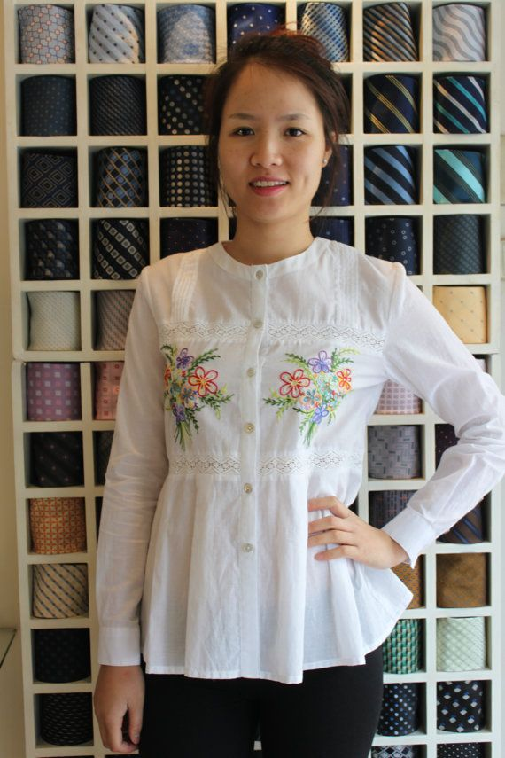 Handembroidery cotton shirt by lotussilk on Etsy, $72.00
