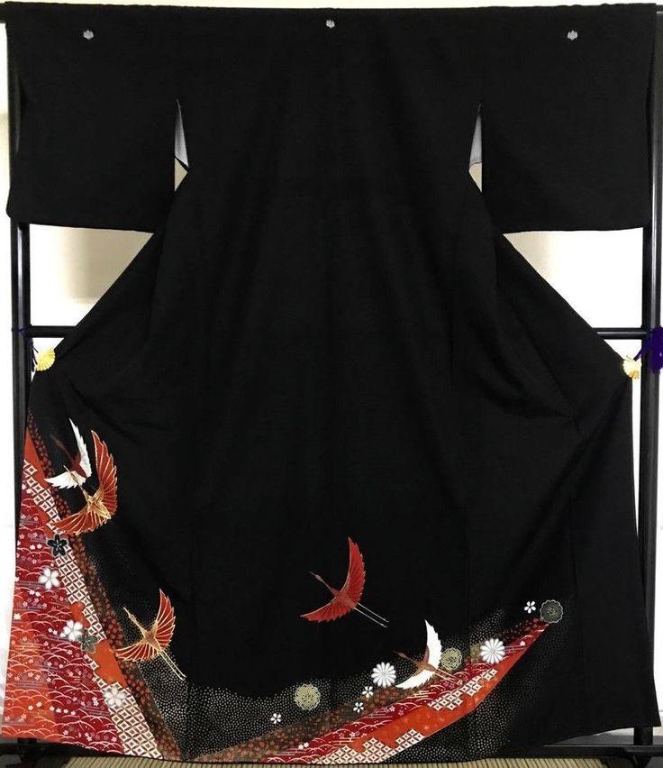 Japanese vintage antique KIMONO Black TOMESODE KUROTOMESOD Crane Gold Embroidery | eBay