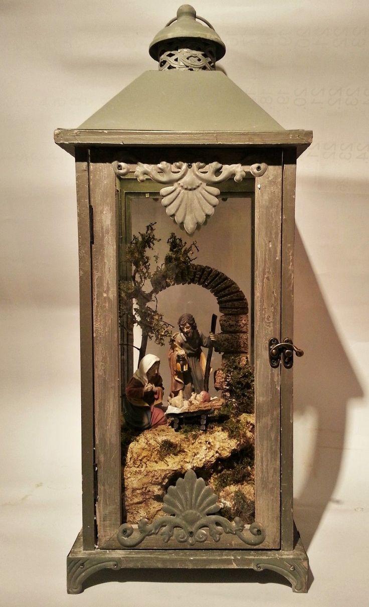 Laternen-Krippe mit Beleuchtung und Figuren - 60 cm hoch | eBay