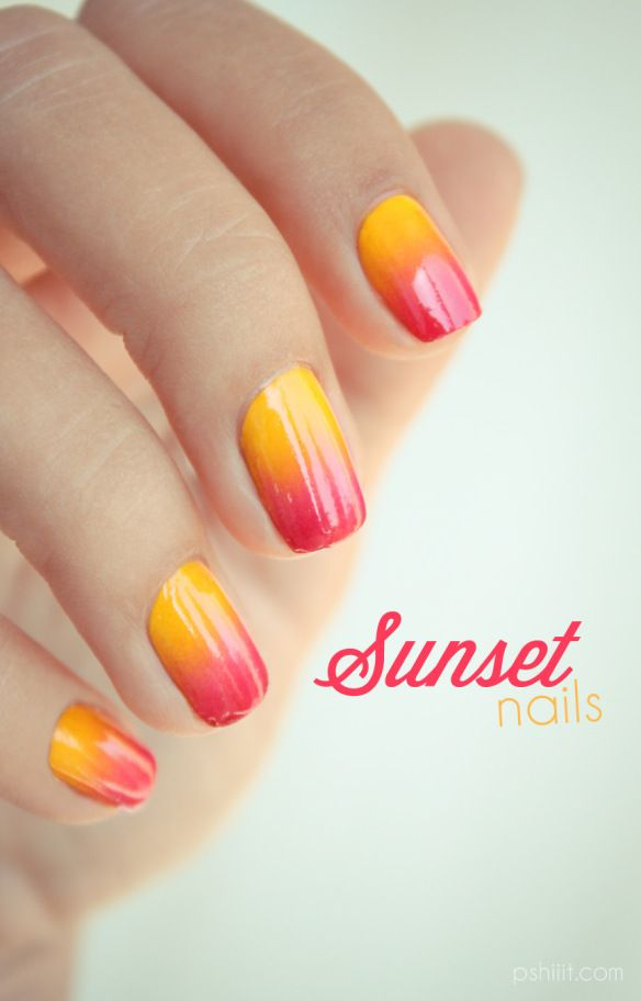 Gradient nail art: three colors colours: yellow (Konad), orange-pink (Peggy Sage Ethnik Pink), pink-red (Revlon) #sunset design #summer #spring
