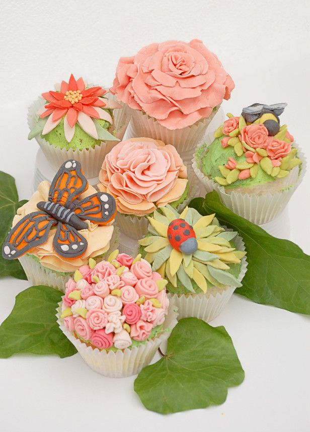 Even an indoor celebration will become a garden party once you add these cupcakes to the table.  They're almost too pretty to eat!  #garden #butterfly #ladybug #cupcake
