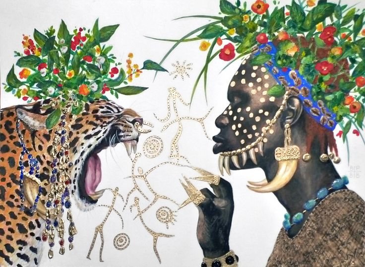 The initiation : mimetis, a Watercolor on Paper by B A H M A N from France. It portrays: Portrait, relevant to: african, flowers, gold, leopard, man There are various sources of inspirations: icons, illuminated miniatures, ancient artifacts from the Etruscan to the Byzantine era. The work is based upon contrasts between the mat paper and the ornate parts which come with different textures and degrees of reflection. Textures add a 3 dimensional aspect to the work so it is perpetually changing…