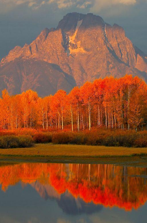 Reflections ~ Beautiful USA | Autumn in the Grand Tetons, Jackson Hole, Wyoming #orange #travel