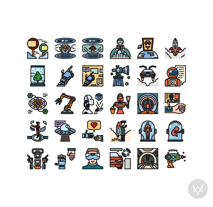 30 Futuristic Technology Icon Sets by VINZENCE STUDIO on Creative Market