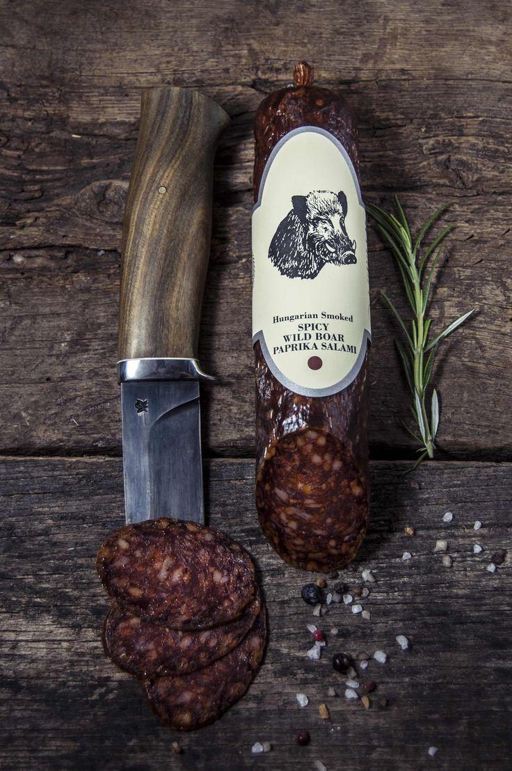 WILD BOAR SPICY PAPRIKA SALAMI      A piquant version of our Smoked Free Range Wild Boar Paprika Salami.This salami along with spicy Hungarian red paprika, but it is the Free Range Wild Boar Meat and the smoking that makes it standout. The quality paprika gives a luscious body to this outstanding product just the very end of each bite you experience the spiciness.