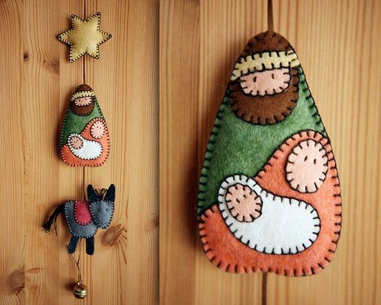 Christmas ornament... Felt Nativity... So sweet!! I need to make some... Might also try a white/cream one with silver/gold embroidery thread.