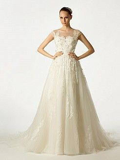 Sheer Shoulder Featured Tulle Bridal Gown with Applique and Beading'