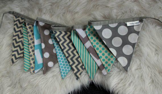 grey and Aqua blue bunting. Baby boy nursery decor. Boys bedroom bunting. grey chevron, blue stripe, aqua bunting. baby shower gift. nursery