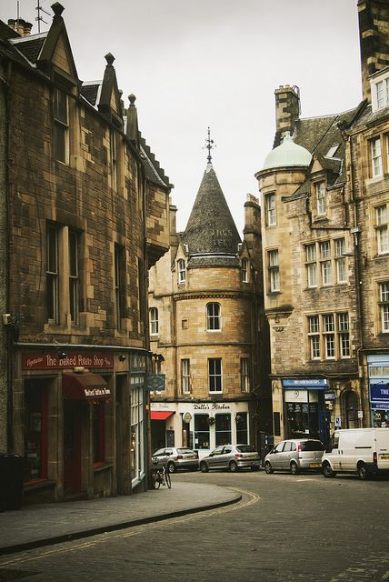 Edinburgh, Scotland. Dad and I walked up this hill together, same buildings...