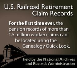 "U.S. Railroad Retirement Claim Records index from the ""Genealogy Quick Look"", part of the Midwest Genealogy Center at the Mid-Continent Public Library"