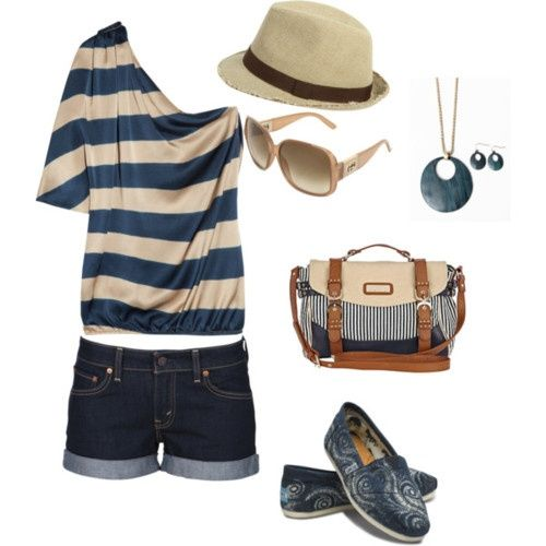 cute out fitHats, Fashion, Summer Looks, Style, Clothing, Cute Summer Outfit, One Shoulder, Summer Outfits, Cute Outfit