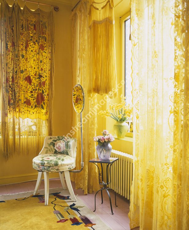 2002 Bedroom Betsey Johnson Chair Curtains Daylight Fabric Fashion Feminine Floral Flowers