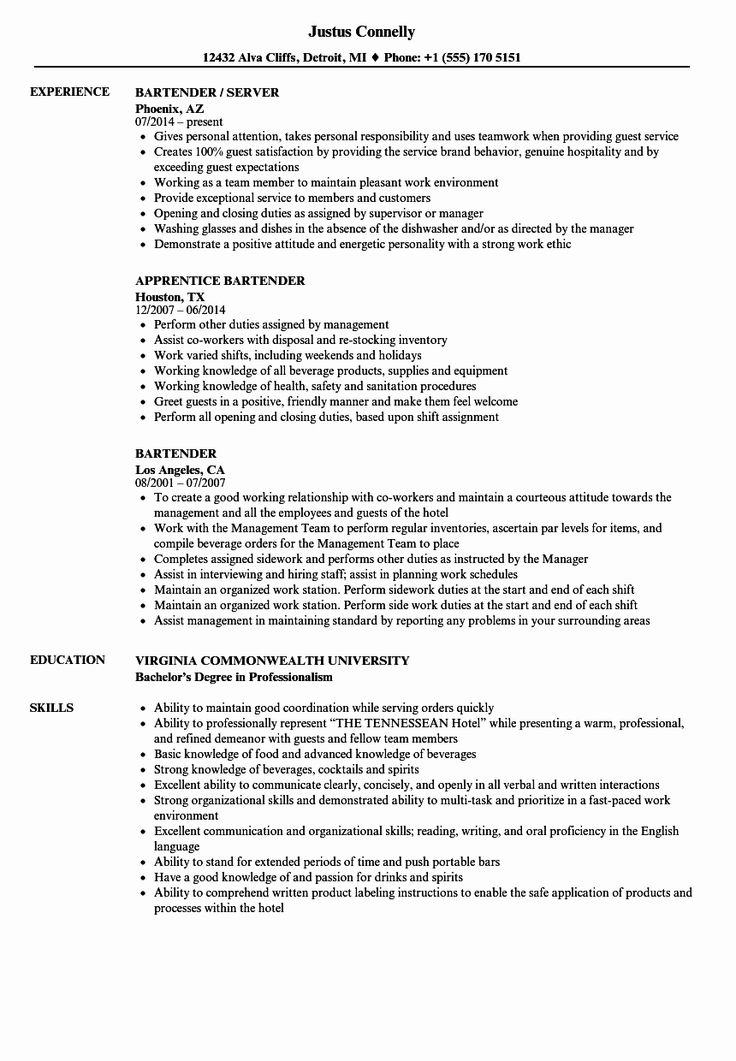 Bartender Job Description Resume Inspirational Bartender