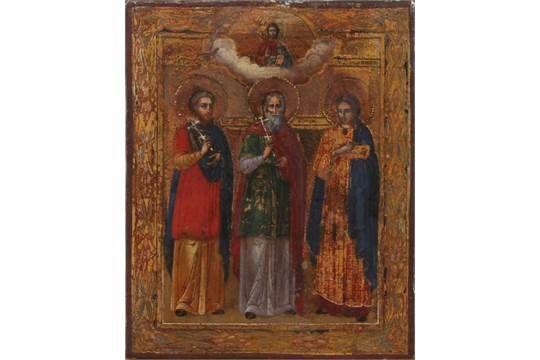 Kleine fein gemalt 19. Jahrhunderts Russische Ikone drei Heiligen einschließlich Moses, Christus