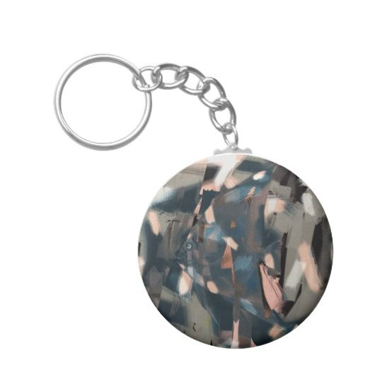 Abstract Fish with Overbite Basic Round Button Keychain with art by Nola Lee Kelsey