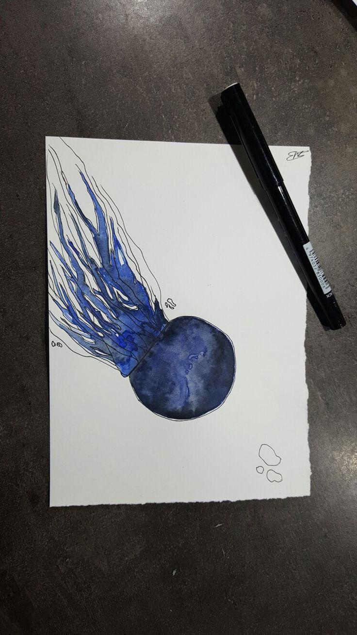 Watercolor jellyfish blue black
