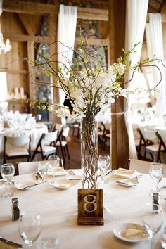 Orchid and Willow Branch Centerpieces