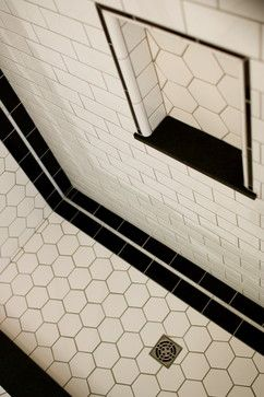 Art Deco Bathroom - love these hexagon tiles!