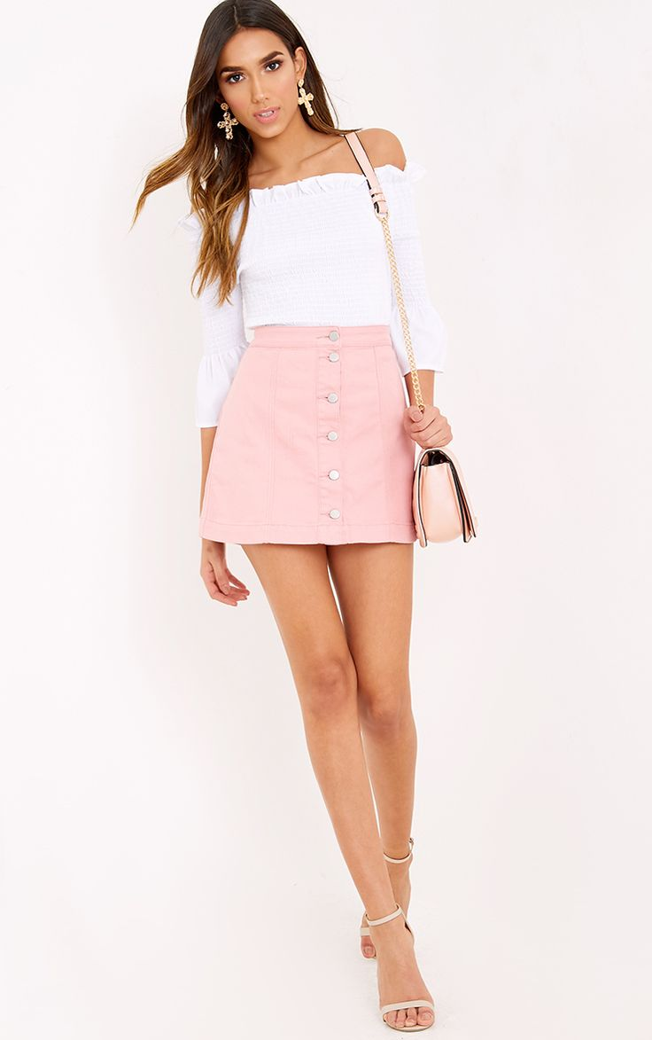Pink Denim Mini Skirt There's no cuter way to rock denim this season than with this button d...