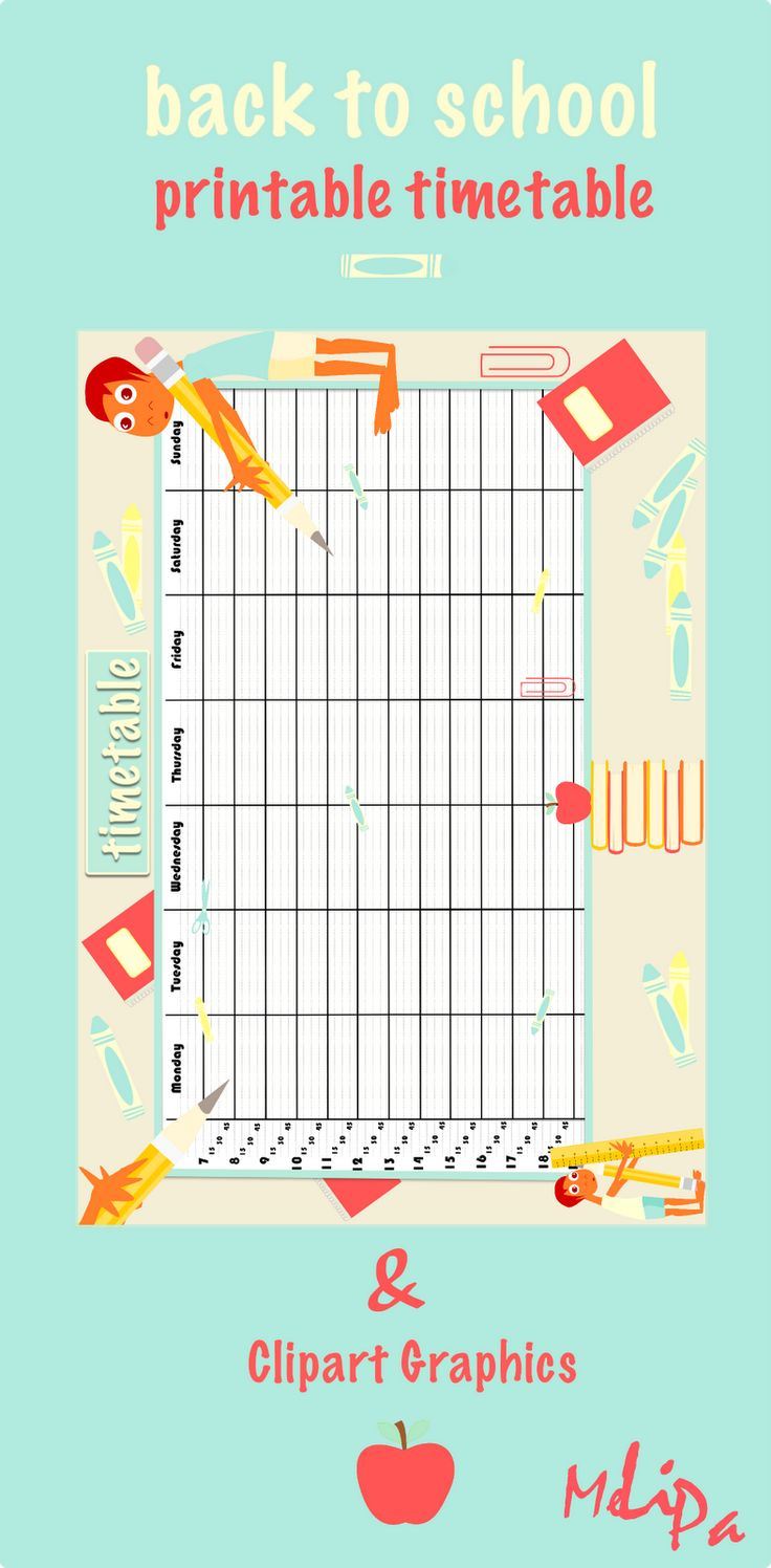 printable school timetable and back to school clipart graphics by MeinLilaPark  #free #timetable #printable #school