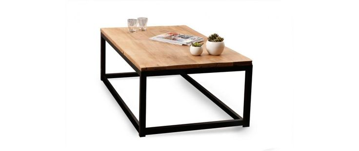 Mesa baja industrial de madera y metal FACTORY - Miliboo