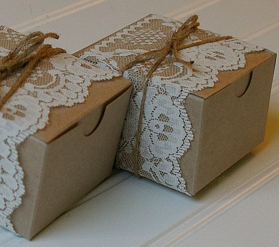 The perfect addition to your rustic or vintage themed wedding or shower! This unique DIY set includes everything you need to easily make 25 simple yet beautiful boxes, perfect for filling with candies, a candle, or you goody of choice! INCLUDED: ------------- • Set of twenty five 3 x 3 x 2 kraft favor boxes, which are flat and ready to snap together. *** PLEASE NOTE these boxes will arrive flat, but are a breeze to snap together. They will include all the trimmings, as well as instructions…