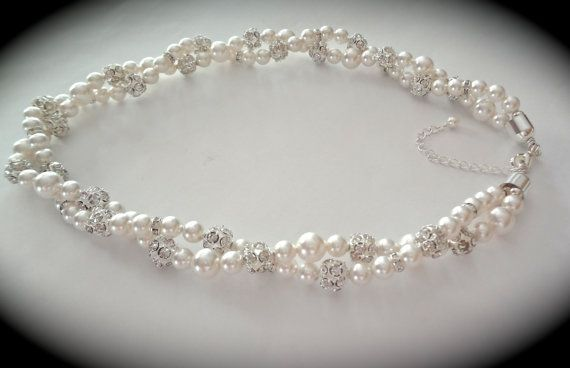 Pearl necklace // Swarovski // Crystal rhinestone necklace // Bridal jewelry // 2 strands // twisted pearl necklace // Brides necklace //