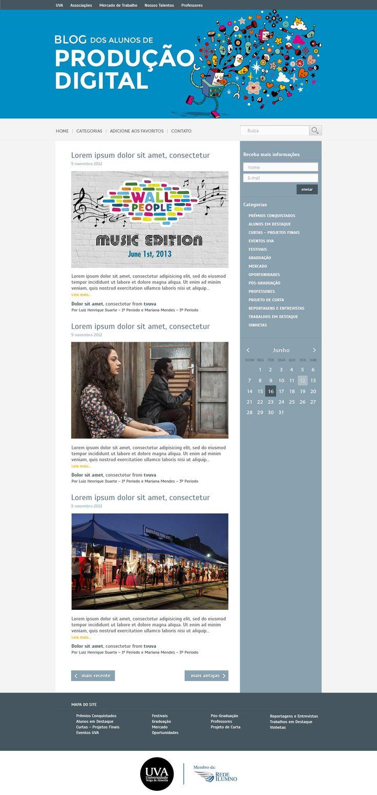 Redesign do blog de produção digital.  Universidade Veiga de Almeida.