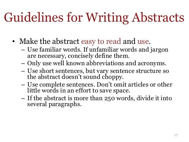 abstract writing guide