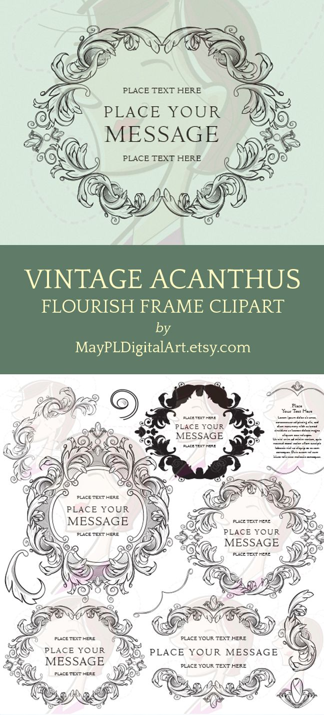 Vintage Acanthus Leaves Designed As Flourish Frames You Can Use For Cardmaking Projects Diy Logo And Such Vintagestyle: Vintage Flourish Wedding Invitations Diy At Reisefeber.org
