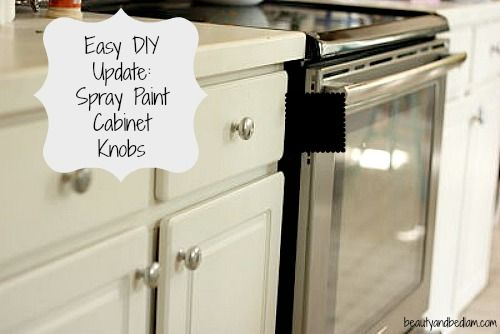 Easy and super-inexpensive DIY: spray paint brass cabinet knobs. #closingthegap