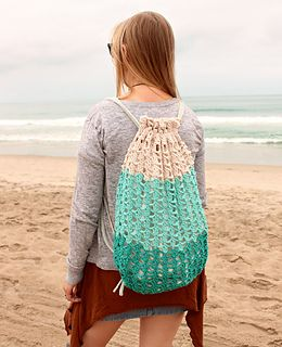 With this pattern, you can create a tri-colored, lacy backpack that is perfect for carrying your towel and other essentials to the beach this summer! This design uses a simple repeating stitch pattern that's easy to memorize. Perfect for road trips, days at the beach and other times when you can't give crocheting 100% of your attention!