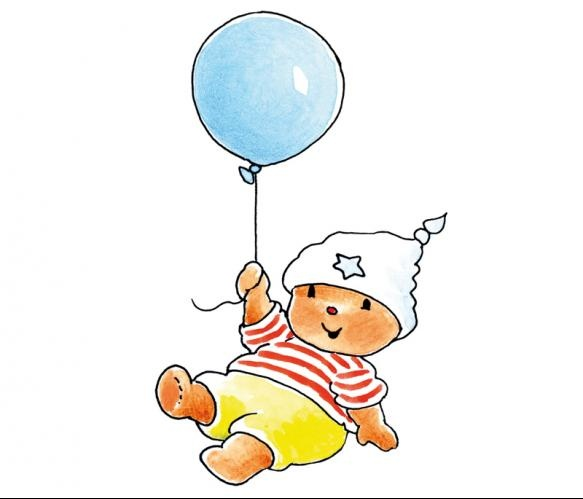Fotobehang Sweet Collectie - Bobbi With A Blue Balloon - FotobehangFactory.nl