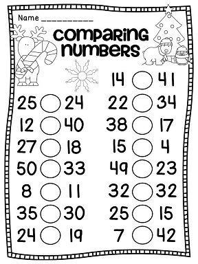 Greater than less than Christmas worksheets