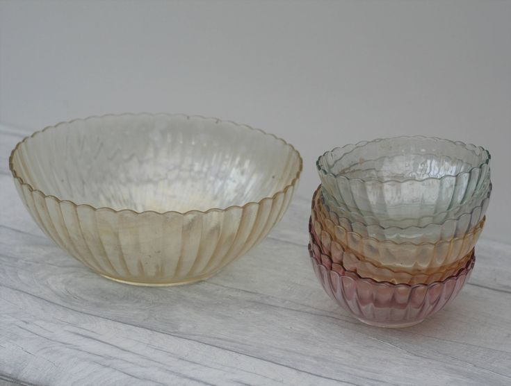 Coloured Glass Serving Bowl and 7 matching Dessert Bowls by TheVintageTeaShoppe on Etsy
