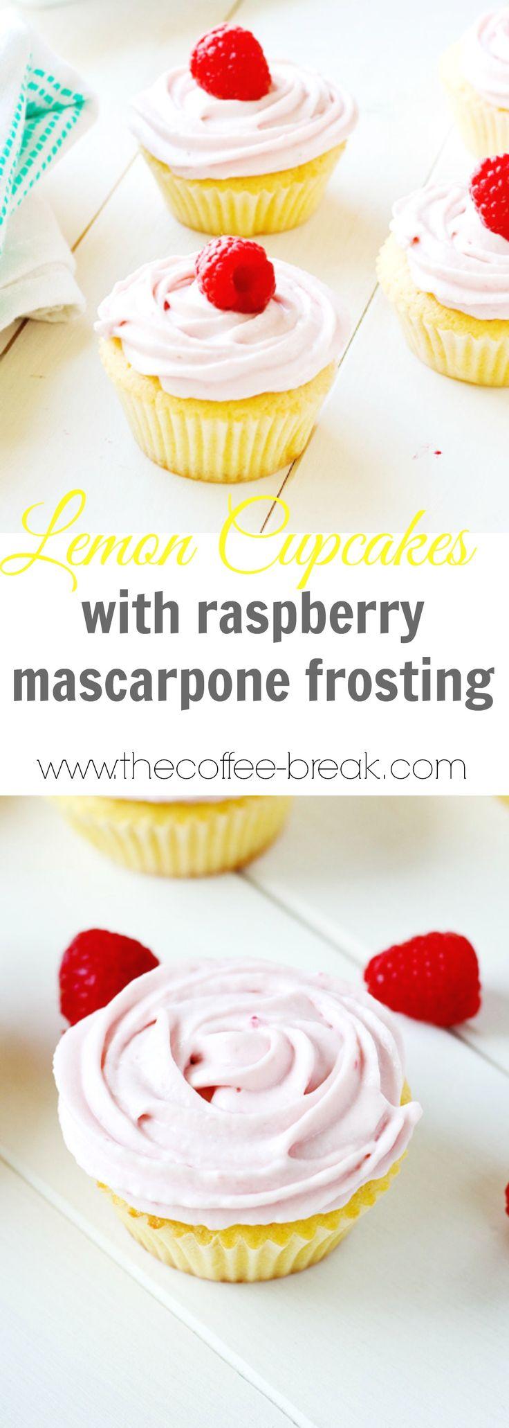 Lemon Cupcakes with Raspberry Mascarpone Frosting    www.thecoffee-break.com