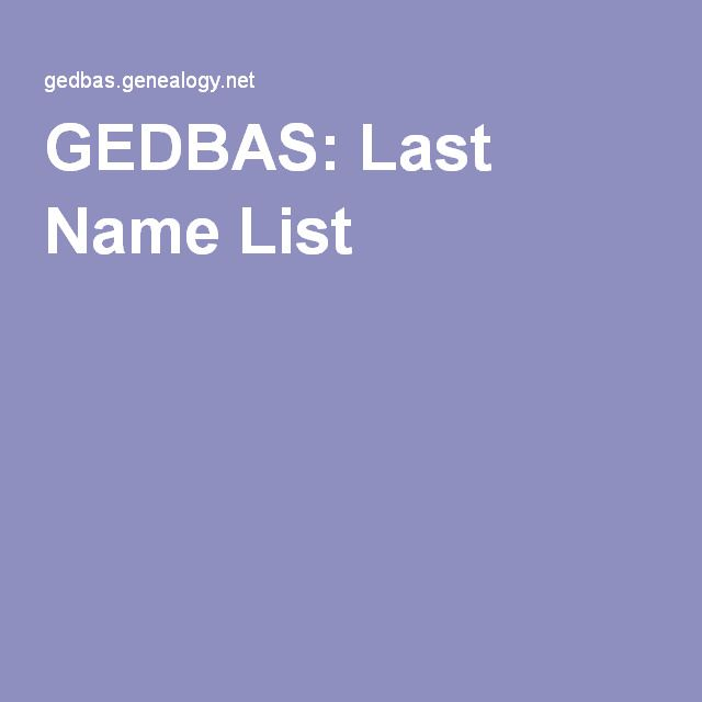 GEDBAS Last Name List