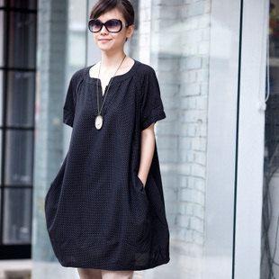 Loose Fitting Soft Cotton Long Shirt Blouse for Women  -  Black -Short Sleeved Women Spring Dress on Etsy, $55.00