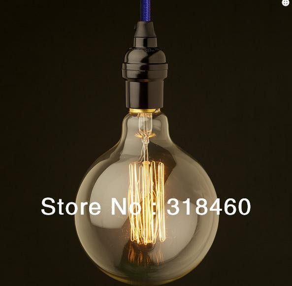 creative line hanging vintage cord single pendant lamp within E27 E26 bulbs G95 for restaurant  retro bar lights 4set /lot-in Pendant Lights...