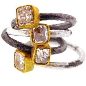 Atelier Minyon - stones enclosedSilver Diamonds, Brides Bling, Jewellery Rings, Diamonds Rings, Atelier Minyon, Jewels Rings, Diamonds Stackable, Jewelry Boxes, Interesting Jewellery