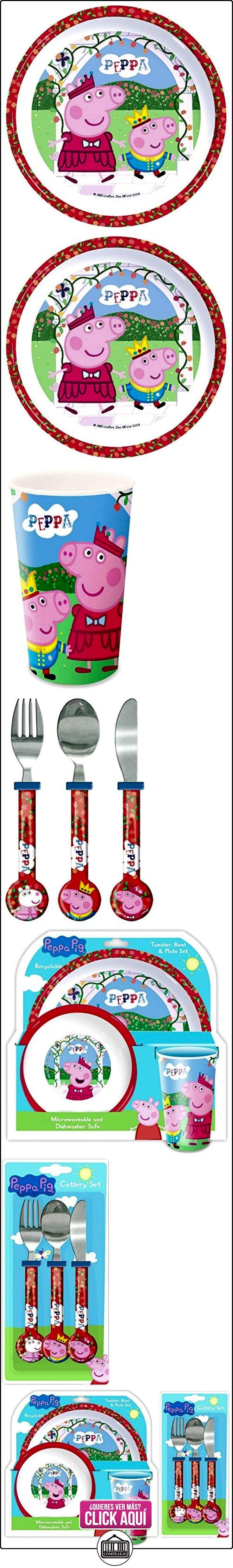 Peppa Pig 'Érase una vez' 6 piezas Vajilla | Vaso del tazón de fuente, taza, cuchillo, tenedor y cuchara  ✿ Peppa Pig - Peppa La Cerdita ✿ ▬► Ver oferta: http://comprar.io/goto/B01ABYATH8