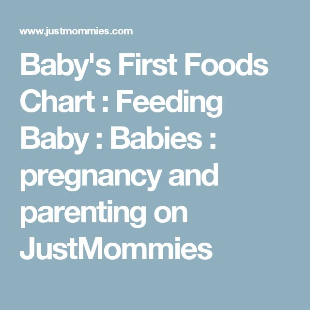 Baby's First Foods Chart : Feeding Baby : Babies : pregnancy and parenting on JustMommies