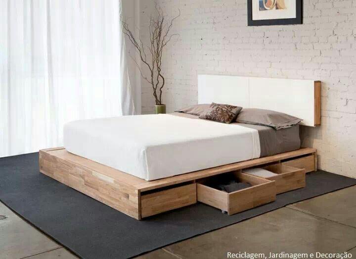Cama con plataforma para almacenaje interiors bedroom - Camas con almacenaje ...