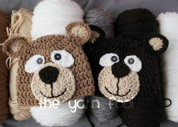 Newborn, Infant, Youth Sized Crochet Bear Hat