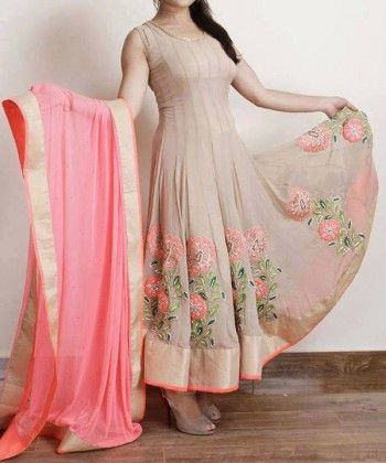 Peach/Pink Crinkle Chiffon Anarkali Dress