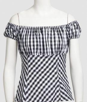 Mujeres Nuevo Llega La Moda de La Vendimia Tapas de Diseño de la Línea Del Hombro Con Volantes Verano Camisa Campesina de Espalda Negro Blanco Plaid Blusa(China (Mainland))